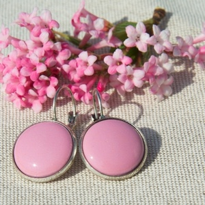 Rózsaszín tűzzománc francia kapcsos fülbevaló, Ékszer, Fülbevaló, Igazi tavaszi darab ez a francia kapcsos fülbevaló rózsaszín tűzzománc betéttel, antik ezüst színű f..., Meska