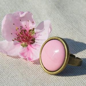 Rózsaszín kerek tűzzománc gyűrű, Ékszer, Szoliter gyűrű, Gyűrű, Ékszerkészítés, Tűzzománc, Meska
