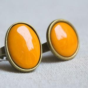 Okker sárga ovális tűzzománc gyűrű (MatisZomanc) - Meska.hu