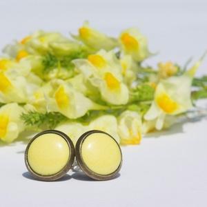 PiciKék - Kanári sárga mini tűzzománc bedugós pötty fülbevaló, Pötty fülbevaló, Fülbevaló, Ékszer, Ékszerkészítés, Tűzzománc, A szolidabb stílus kedvelőinek készült ez a kanári sárga tűzzománc mini bedugós fülbevaló antik réz/..., Meska