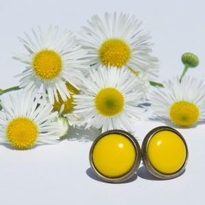 PiciKék - Citrom sárga mini tűzzománc bedugós pötty fülbevaló, Pötty fülbevaló, Fülbevaló, Ékszer, Ékszerkészítés, Tűzzománc, A szolidabb stílus kedvelőinek készült ez a citromsárga mini bedugós fülbevaló. Igazi élénk és feltű..., Meska