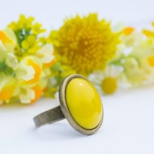 Citrom sárga kerek tűzzománc gyűrű (MatisZomanc) - Meska.hu