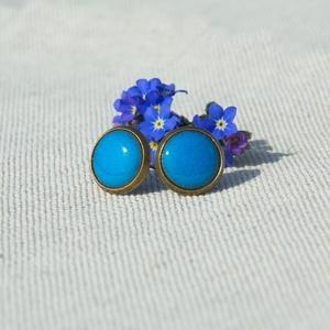 PiciKék - Türkiz kék mini tűzzománc bedugós pötty fülbevaló , Ékszer, Fülbevaló, Ékszerkészítés, Tűzzománc, A szolidabb stílus kedvelőinek készült ez a türkizkék (világoskék) tűzzománc mini bedugós pötty fülb..., Meska