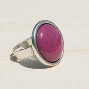 Padlizsán lila kerek tűzzománc gyűrű, Ékszer, Gyűrű, Esküvő, Esküvői ékszer, Ékszerkészítés, Tűzzománc, Az orgona lila árnyalatánál sötétebb, úgynevezett padlizsán lila színű ez a tűzzománc köves gyűrű, a..., Meska