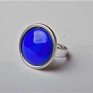 Királykék kerek tűzzománc gyűrű , Statement gyűrű, Gyűrű, Ékszer, Ékszerkészítés, Tűzzománc, Igazi klasszikus darab ez a királykék tűzzománc köves gyűrű antik ezüst színű foglalatban.\n\nGyűrű át..., Meska