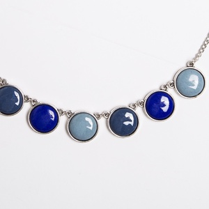 Evening Dove silver - tűzzománc nyaklánc kékes-szürkés színekben, Medálos nyaklánc, Nyaklánc, Ékszer, Ékszerkészítés, Tűzzománc, Esőfelhők? Közelgő vihar? Vagy a tenger kékje? Szürkés-kékes színekben készült ez a nyaklánc, ezútta..., Meska