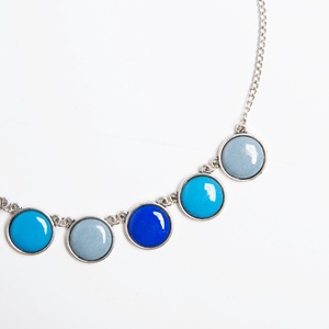 Windy Blue silver - tűzzománc nyaklánc kékes-szürkés színekben, Ékszer, Medálos nyaklánc, Nyaklánc, Ékszerkészítés, Tűzzománc, Meska