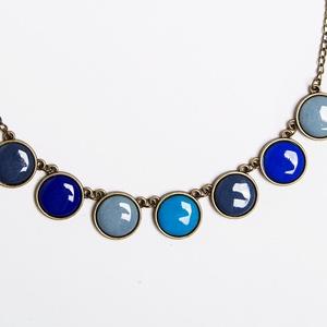 Rainwashed mini bronze - tűzzománc nyaklánc kékes-szürkés színekben, Ékszer, Medálos nyaklánc, Nyaklánc, Ékszerkészítés, Tűzzománc, Meska