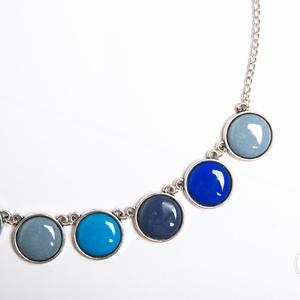 Rainwashed mini silver - tűzzománc nyaklánc kékes-szürkés színekben, Ékszer, Medálos nyaklánc, Nyaklánc, Ékszerkészítés, Tűzzománc, Meska