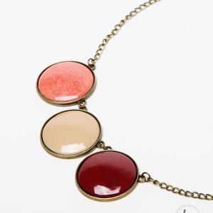Cranberries tűzzománc nyaklánc korall, bordó és drapp színben - maxi, Ékszer, Gyűrű, Ékszerkészítés, Tűzzománc, Tőzegáfonya - barna ágak, vöröses bogyók jutottak eszembe ennek a nyakláncnak a színeiről: borvörös,..., Meska