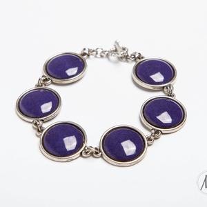 Deep Purple - ibolya lila tűzzománc karkötő, Lánc karkötő, Karkötő, Ékszer, Ékszerkészítés, Tűzzománc, Ennek a karkötőnek olyan a színe, mint az épp kinyílt ibolya lila szirmai. Ezüst színű foglalatban s..., Meska
