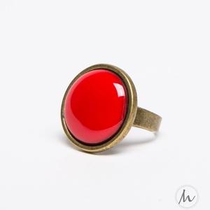 Piros tűzzománc gyűrű , Ékszer, Gyűrű, Esküvő, Esküvői ékszer, Ékszerkészítés, Tűzzománc, Ez a telt, ragyogó piros tűzzománc köves gyűrű igazán tüzes darab, eleganciát és szenvedélyt sugall...., Meska