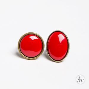 Piros ovális tűzzománc gyűrű - ékszer - gyűrű - szoliter gyűrű - Meska.hu