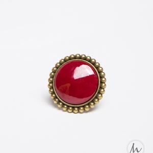 Burgundi bordó tűzzománc gyűrű - maxi, Ékszer, Statement gyűrű, Gyűrű, Ha szereted a különleges gyűrűket, tetszeni fog ez a nagy kerek bordó tűzzománc köves gyűrű.  Gyűrű ..., Meska