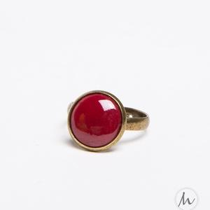 Burgundi bordó tűzzománc gyűrű - mini - Meska.hu