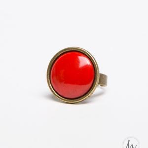 Pipacs piros tűzzománc gyűrű , Ékszer, Gyűrű, Esküvő, Esküvői ékszer, Ékszerkészítés, Tűzzománc, A klasszikus pirosnál kicsit kevésbé élénk, kevésbé telt ez a szín: igazi pipacspiros színű tűzzomán..., Meska