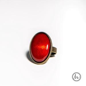 Rozé ovális tűzzománc gyűrű, Szoliter gyűrű, Gyűrű, Ékszer, Ékszerkészítés, Tűzzománc, Ha szereted a különleges gyűrűket, tetszeni fog ez az ovális tűzzománc köves gyűrű, aminek a színe o..., Meska