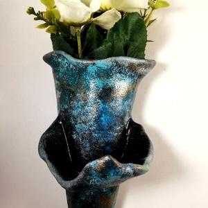 Fali Kerámia virágtartó mécsestartóval, Otthon & Lakás, Spiritualitás & Vallás, Temetkezési tárgy, Kerámia, \nAkrillal festett és lakozott kerámia.\n\n\n\nAmennyiben a virágtartóban száraz vagy művirág van úgy a m..., Meska