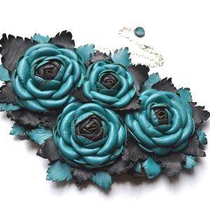 Jardin-Turquoise et Noir-nyakék valódi bőrből, Statement nyaklánc, Nyaklánc, Ékszer, Bőrművesség, Ékszerkészítés, Egy pompázatos kert, türkiz és fekete rózsa fejekkel rengeteg levéllel, luxuskivitelben!\nEnnek a nya..., Meska