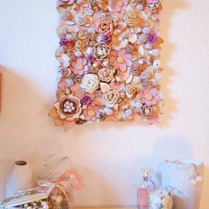 Jardin-Fleurs poudre-3D falikép valódi bőrből, Otthon & lakás, Dekoráció, Kép, Dísz, Bőrművesség, Ékszerkészítés, Egy ámulatba ejtő pompázatos kert rózsaszín púderes álomszínekkel, rengeteg  virággal, bimbóval, lev..., Meska