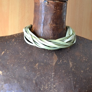 Green Pearl-valódi bőr nyaklánc - Meska.hu