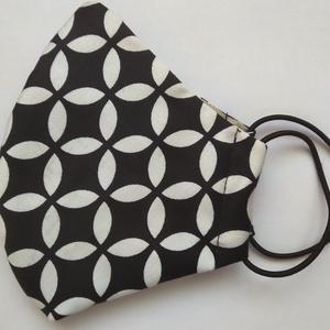 fekete/fehér mintas SZÁJMASZK, Ruha & Divat, Férfi & Uniszex, Maszk, Arcmaszk, A maszkok kétrétegűek, kívül mintás,  pamutos textília, belül a klasszikusan maszkokban használatos ..., Meska