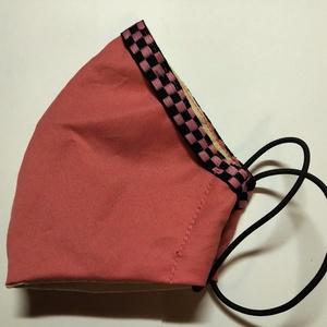 pink kockas SZÁJMASZK, Egyéb, Táska, Divat & Szépség, Ruha, divat, Varrás, A maszkok kétrétegűek, pamutos textília, applikációval,(csipke, szalag vagy sportcsík) belül a klass..., Meska