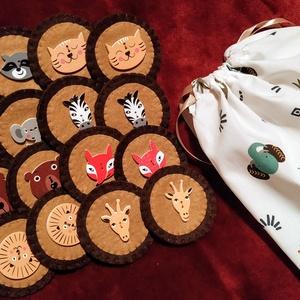 Vadállatos memóriajáték filcből, fa gombokkal, Készségfejlesztő & Logikai játék, Játék & Gyerek, Varrás, Teljes mértékben kézzel készítettem, vágtam, varrtam ezt a memóriajátékot. Az állatkák fa gombok, rá..., Meska