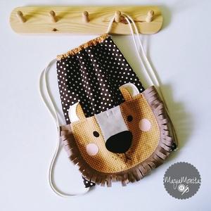 Oroszlános  óvodai zsák + tornazsák ovis zsák játéktároló tároló ruhazsák ruha zsák oviszsák ovizsák ovi (Mayamonita) - Meska.hu