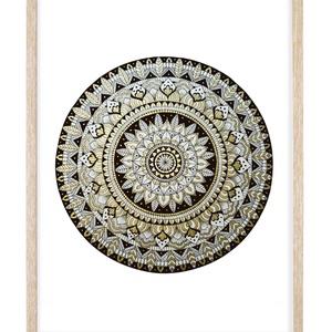 MANDALA 02 - Tollrajz print, üvegezett keretben, Művészet, Grafika & Illusztráció, Fotó, grafika, rajz, illusztráció, MANDALA 02 - tollrajz print, 32x42 cm-es üvegezett fa keretben. \nEgyedi rajzról készített magas minő..., Meska