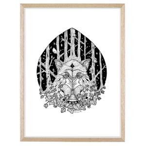 Az Erdő Őrzői - Vaddisznó, Tollrajzról készített print, üvegezett fa keretben, Művészet, Grafika & Illusztráció, Fotó, grafika, rajz, illusztráció, Tollrajzról készített nyomat, üvegezett fa keretben.\n\nAz Erdő Őrzői című, 8db-os illusztrációs soroz..., Meska