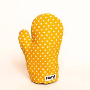 """MAY'R Konyhai kesztyű """"okker sárga pöttyös"""", Otthon & Lakás, Konyhafelszerelés, Edényfogó & Edényfedő, Varrás, Praktikus konyhai kiegészítő a sütés-főzés kedvelőinek.\nEzen termékben egyesül a stílus, a divat és ..., Meska"""