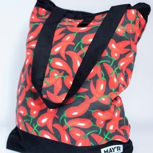 """MAY'R Bevásárló táska """"chili"""", Táska & Tok, Bevásárlás & Shopper táska, Shopper, textiltáska, szatyor, Varrás, Kézzel készűlt, egyedi bevásárló táska.\nBelső zsebbel és trendi megjelenéssel.\n\nA méteráru mintájábó..., Meska"""