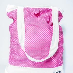 MAY'R Bevásárló táska , pink pöttyös-fehér, Táska & Tok, Bevásárlás & Shopper táska, Shopper, textiltáska, szatyor, Varrás, Kézzel készült, egyedi bevásárló táska.\nBelső zsebbel és trendi megjelenéssel.\nA méteráru mintájából..., Meska