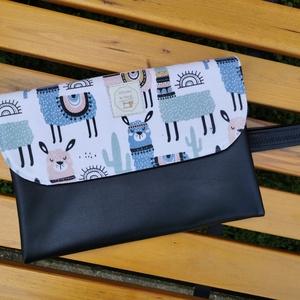 Hello Baby! Alpakás pelenkázó táska - fekete, Táska & Tok, Pelenkatáska, Pelenkatartó tok, Varrás, Hello Baby! Alpakás pelenázó táska.\nFekete színű textilbőrből, dekorvászonból és gyöngyvászonból kés..., Meska