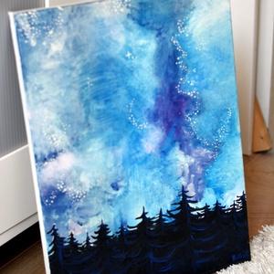 Téli galaxis éjjel akril festmény, Otthon & lakás, Dekoráció, Kép, Képzőművészet, Festmény, Akril, Festmény vegyes technika, Festészet, Ezt a festmény színei és textúrái különböztetik meg a millió másik galaxis témájú festménytől. \nAkri..., Meska