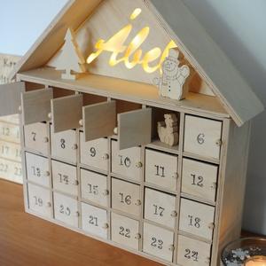 Nagy Adventi Öröknaptár, Otthon & Lakás, Karácsony & Mikulás, Adventi naptár, Famegmunkálás, Adventi öröknaptár, nem csak adventre, de tényleg örökre :) A hóember és karácsonyfa levehető (ezeke..., Meska