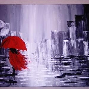 Esőben, Akril, Festmény, Művészet, Festészet, 30*40-es vászonra készült, akril festékkel,festőkéssel, Meska