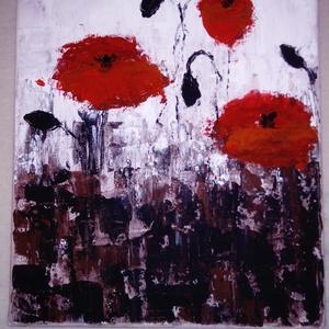Pipacsok, Akril, Festmény, Művészet, Festészet, 24*30-as vászonra készült, akril festékkel,festőkéssel, Meska