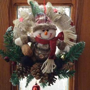 Karácsonyi ajtódísz kopogtató, Karácsony & Mikulás, Karácsonyi kopogtató, Mindenmás, Kellemes karácsonyi hangulatot varázsolhatunk  a bejárati ajtónk díszeként .A kopogtató átmérője 23 ..., Meska