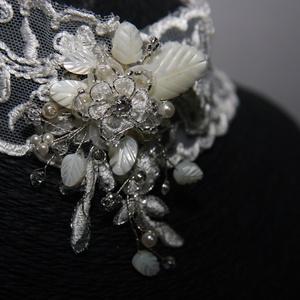 Menyasszonyi nyaklánc,ékszer széles csipke,krém+karkötő szett - esküvő - ékszer - ékszerszett - Meska.hu