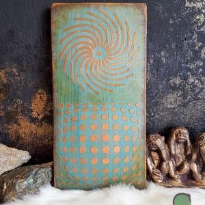 Turkisa Rozo festett fa dekoráció - Meska.hu