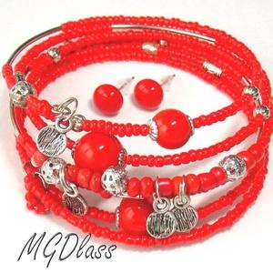 Vörösvarázs gyöngyparádé, memória lámpagyöngyös karkötő, pötty fülbevaló (MDGlass) - Meska.hu