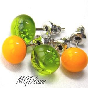 Áttetsző zöld, narancs pötty fülbevaló, 2 pár, üvegékszer, Ékszer, Fülbevaló, Gyerek & játék, Ékszerkészítés, Üvegművészet, Áttetsző, zöld és narancssárga moretti üvegrúdból készült a kettő pár fülbevaló, fusing technikával...., Meska