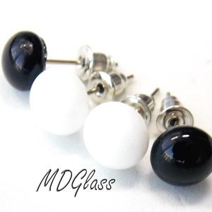 Fekete-fehér pötty fülbevaló, 2 pár, üvegékszer (MDGlass) - Meska.hu