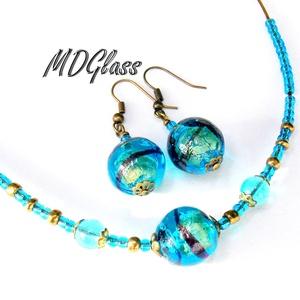 Kék-arany lámpagyöngyös üvegékszer szett, nyaklánc, lógós fülbevaló (MDGlass) - Meska.hu