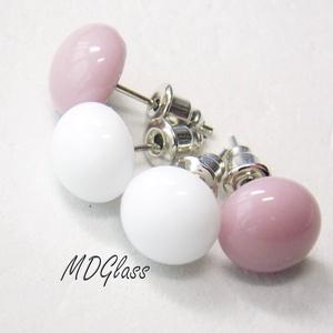 Fehér-púder pötty fülbevaló, 2 pár, üvegékszer, Ékszer, Fülbevaló, Gyerek & játék, Ékszerkészítés, Üvegművészet, Púder lilás-rózsaszín és fehér moretti üvegrúdból készült a kettő pár fülbevaló, fusing technikával...., Meska