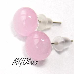 Pasztell rózsaszín stiftes fülbevaló, Ékszer, Fülbevaló, Ékszerkészítés, Üvegművészet, Egyszerűen elegáns, pötty fülbevaló. Rózsaszín, opálos moretti üvegrúdból készült a fülbevaló, olvas..., Meska