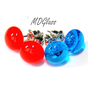 Piros kék  pötty fülbevaló, 2 pár, üvegékszer, Ékszer, Fülbevaló, Pötty fülbevaló, Ékszerkészítés, Üvegművészet, Meska