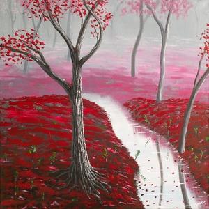Bíbor erdő -olajfestmény, Művészet, Festmény, Olajfestmény, Festészet, 50x50 cm olajfestmény, feszített vásznon. Szignózva. A képet kézzel festettem, saját fantáziámból. M..., Meska
